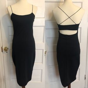 Black fitted midi dress from Dynamite